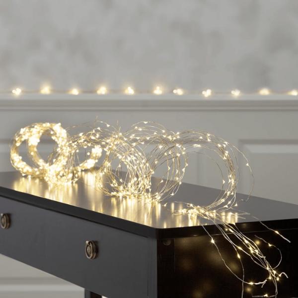 """LED Lichtbündel """"Dew Drop"""" - 720 weiße LED auf 36 silbernen Drähten - 2700K - 3m - inkl. Trafo"""