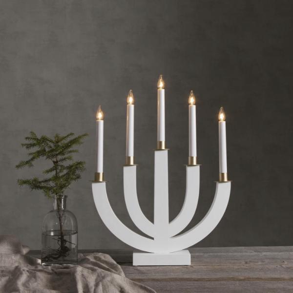 """Kerzenleuchter """"Eli"""" - 5 Arme - warmweiße Glühlampen - H: 47cm, L: 37cm - Schalter - Weiß/Gold"""