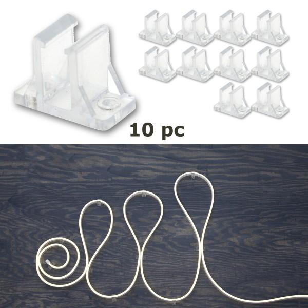 Clips NEOLED - transparenter Montageclip - 10 Stück - Vertikalmontage
