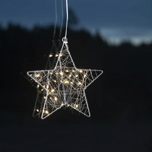 """LED-Leuchstern """"Whirl"""" - Fensterdeko mit Saugnapf - 12 warmweiße LED - silber - Metall - 20x21cm"""