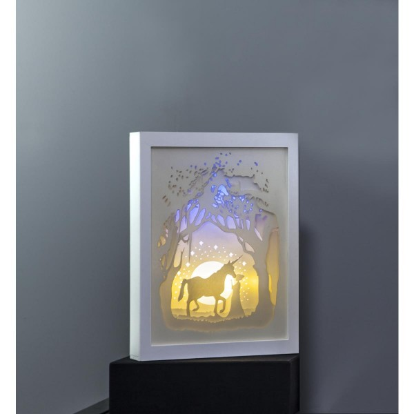 "LED-Bild ""Scenery"" Einhorn - Material: Kunststoff - weiss - 16 LED - mit Batterie oder Trafo - Timer"