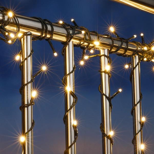 LED Lichterkette - Outdoor - 200 warmweiße LED - L: 19,9m - Timer - grünes Kabel - Außentrafo