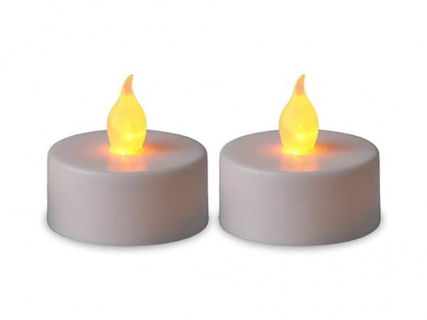LED-Teelicht | Kunststoff | Paulo-Design | flackernde LED | →4cm | ↑4cm | Weiß | 2er Set