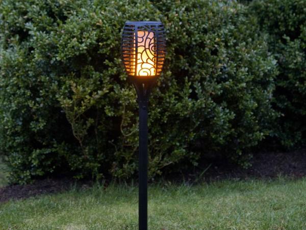 Gartenleuchte | Solar | LED Leuchtmittel bewegtem Feuereffekt | →11cm x ↑79cm | 1 x 2W LED Ultrawarmweiß | mit Lichtsensor
