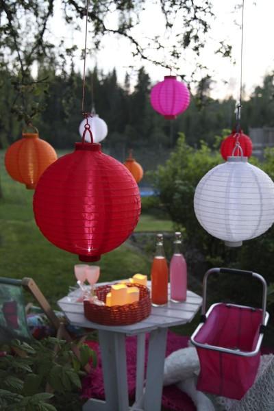 Solar-Lampion weiß - LED Automatik bei Dunkelheit - D: 30cm - mit Montagehaken