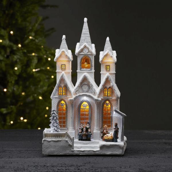 """LED-Leuchthaus """"Salisbury"""" - Winterkirche - 8 Weihnachtsmelodien - 9 warmweiße LED - H: 37cm - weiß"""