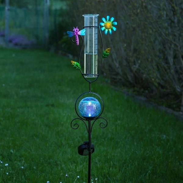 LED Solarstecker LIBELLE - mit Regenmesser - H: 93cm - blaue Kugel