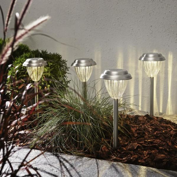 "LED Solar Wegleuchte ""Palma"" - warmweiße LED - H: 28cm - Dämmerungssensor - 4er Set"