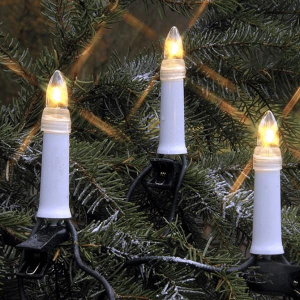 LED Kerzenkette - 25 warmweiße Kerzen - Outdoor - Strang - E10 Fassung - H: 11,5cm, L: 16,8m - weiß