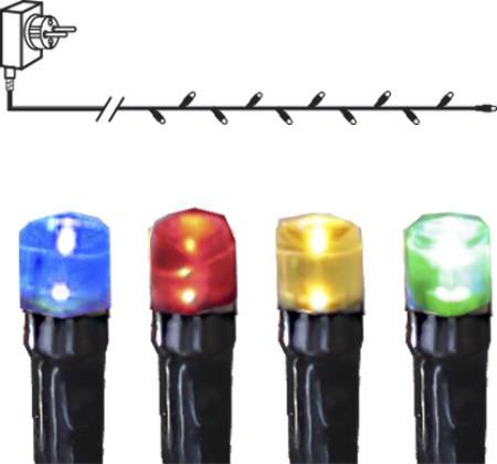 Lichterkette | Serie MICROLED 3mm | 7,2m | 8 Funktionen | schwarzes Kabel | 30 bunte LEDs | Trafo