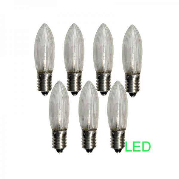 LED Ersatzleuchtmittel für Fensterleuchter - E10 - 0,2W - warmweiß - klar - 10-55V - 7 Stück