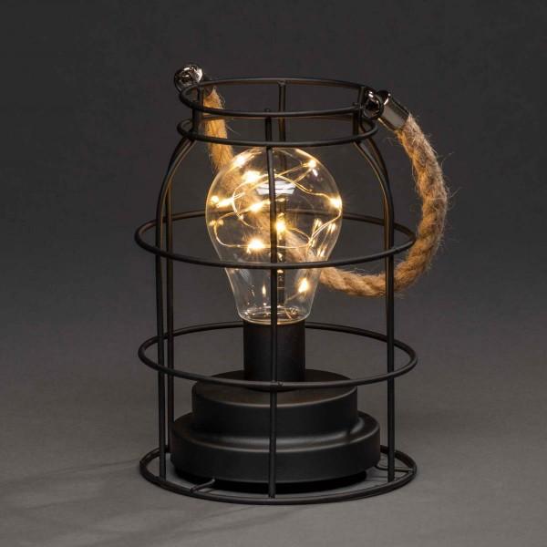LED Laterne - Hängeleuchte - Metall - 9 bernsteinfarbene LED - Timer - Batterie - H: 18cm - rund