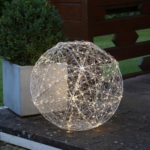 LED 3D Designkugel TRASSEL - Drahtkugel - D: 50cm - 300 warmweiße LED - Silberdraht - outdoor