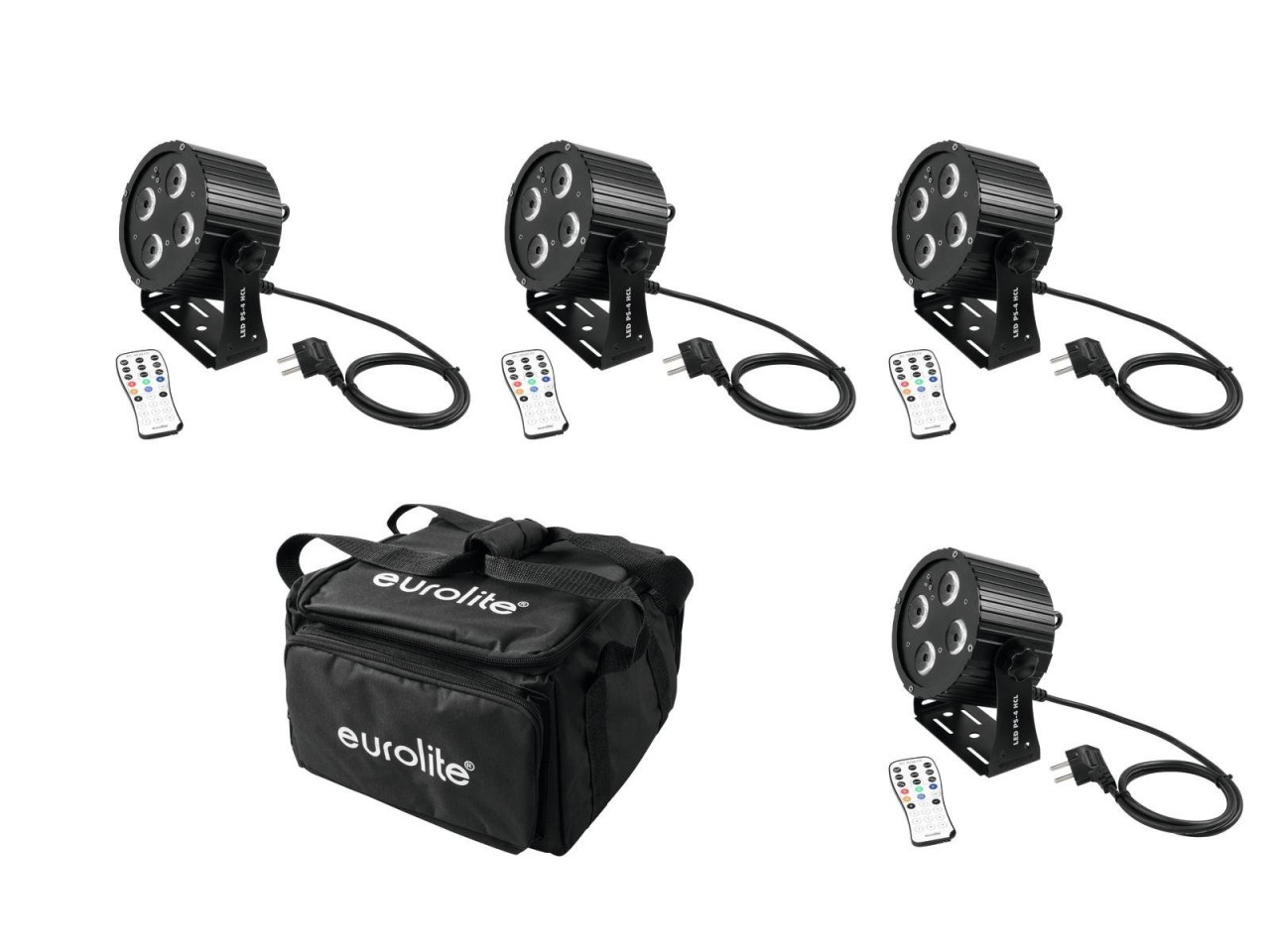 4 mobile LED Scheinwerfer Set - 4 12W LED PS-4 HCL Spot - inkl- 4er Soft-Bag (DMX- Auto- Sound- IR)