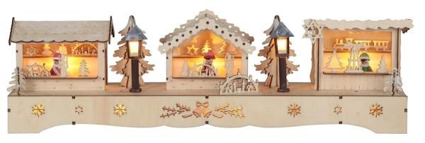 """LED-Fensterleuchter """"Adventsmarkt"""" 10 warm white LED, batteriebetrieben Motiv: Häuser, ca. 13 x 43 cm, Vierfarb-Karton"""