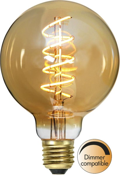 "Decoration LED Kugellampe ""Spiral Filament""- E27- ultra warmweiß 2000K - 90 Ra - 130 Lm - 9,5x14cm"
