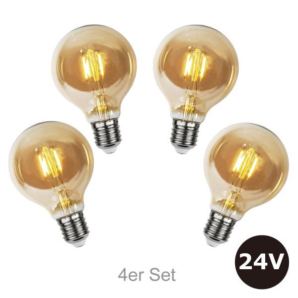 4er Set - 24V Leuchtmittel für SYSTEM 24 Lichterketten - 8cm - amber - 28lm - 2500K - E27 Sockel