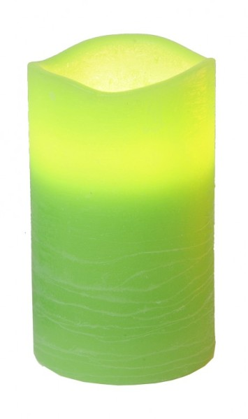 LED-Kerze | Echtwachs | May-Design | flackernde LED | Timer | Weiß | →7.5cm | ↑12.5cm | hellgrün