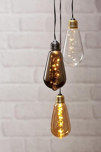 "LED-Dekoleuchte ""Glow"" - 5 WW Micro LEDs in dunkler Glühbirne - Batterie - Timer - H: 13cm - D: 6cm 1"