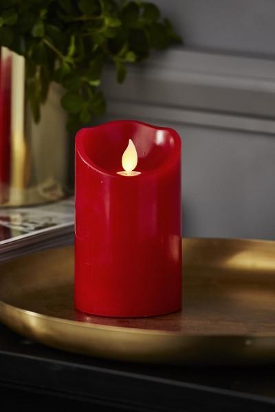 LED Stumpenkerze TWINKLE, rot - H: 12,5cm - D: 7,5cm - Timer - bewegte, warmweiße LED Flamme 12,5cm
