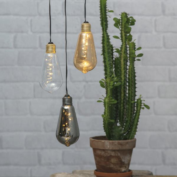 """LED Dekoleuchte """"Glow"""" - 5 warmweiße LED in amber Glühbirne - H: 13cm - D: 6cm - Batterie - Timer"""