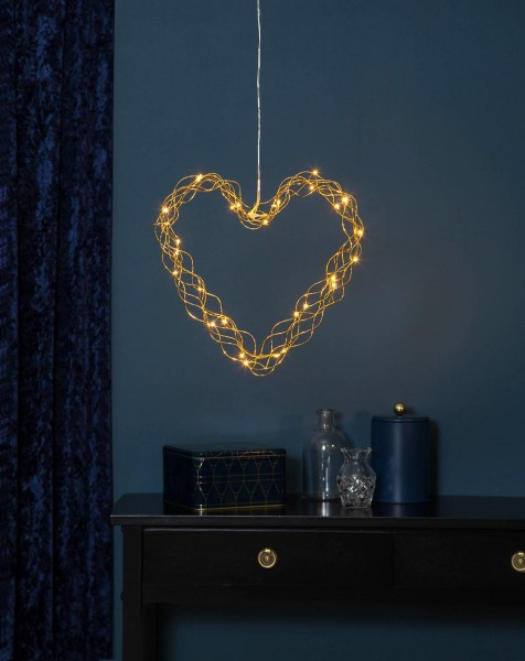 "LED-Dekoherz ""Curly"" - 30 warmweiße LED - H: 30cm, D: 35cm - Material: Metall, messingfarben"