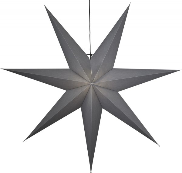"Papierstern ""Ozen"" ca. 140x140 cm, E27 Fassung Farbe: grau ohne Lochung, 5 m Zuleitung, schwarz, Vierfarb- Karton"