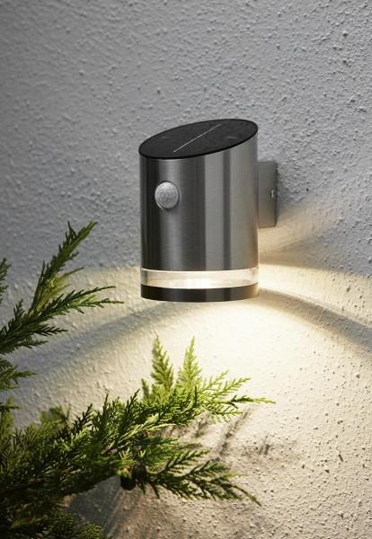 Scheinwerfer   Solar    Edelstahl   zur Wandmontage   →10cm x ↑15cm   65 Lumen   warmweiß   mit Bewegungsmelder und Lichtsensor