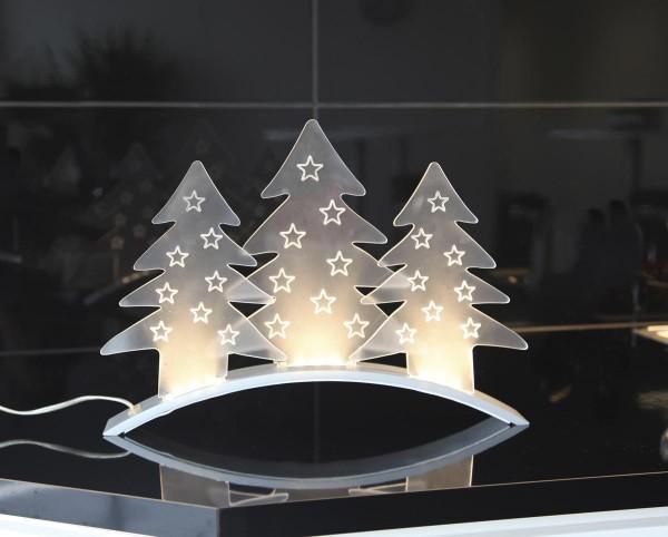 """LED Dekoleuchte """"Allangelo"""" - 3 Acrylbäume - 3 warmweiße LEDs - L: 40cm, H: 29cm - transparent"""