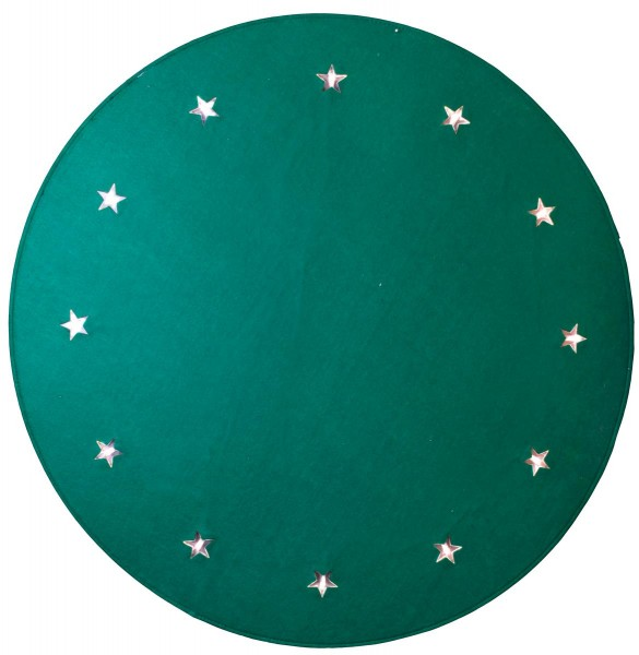 "LED-Baumteppich ""Granne"" - Material: Filz - grün - D: 100cm - 12 warmweiße LEDs - indoor"