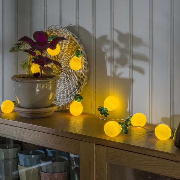 LED Lichterkette Ananas - 10 warmweiße LED - Timer - Batterie - L: 1,80m - gelb, grün