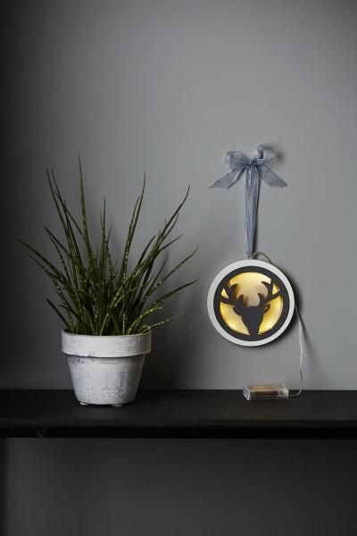 """LED-Aufhänger """"Jagdmeister"""" - 8 warmweiße LED - D:16cm - Batteriebetrieb - Timer - weiß/graues Holz"""