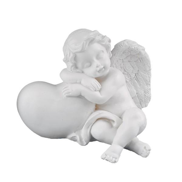 Engel sitzend mit Herz rechts - weiss - 11 x 9 x 9cm