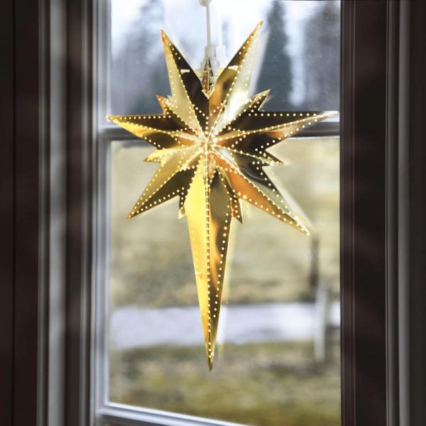 """Messingstern """"Bethlehem"""" - hängend - 7-zackig - H: 35cm, L: 25cm - inkl. Kabel - gold"""