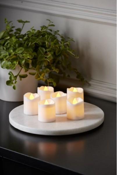 Kerzenset PACKY - 6 Stück LED Teelichter weiß - D:3,7cm - H: 4cm - Schalter