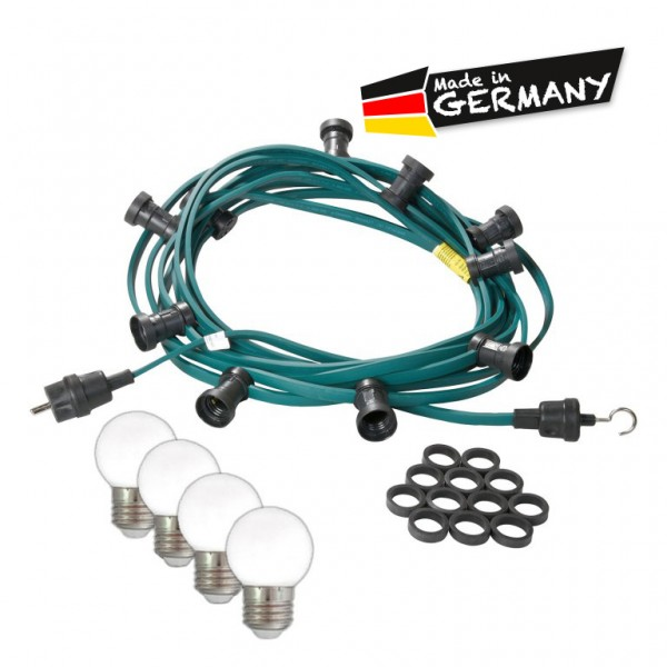 Illu-/Partylichterkette | E27-Fassungen | Made in Germany | mit weißen LED-Lampen | 10m | 10x E27-Fassungen