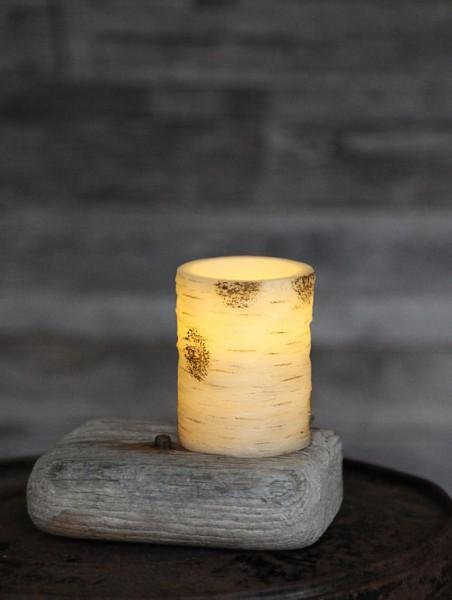 LED-Kerze | Echtwachs | Birken-Design | flackernde LED | Timer | Weiß | →7,5cm | ↑10cm