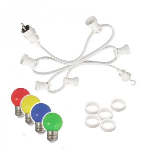 Illu-/Partylichterkette 5m - Außenlichterkette weiß - Made in Germany - 10 x bunte LED Kugellampen