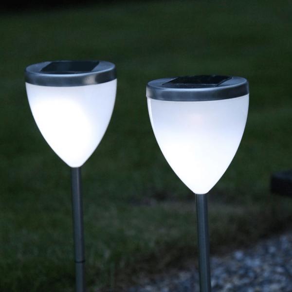 """LED Solar Wegleuchte """"Vigo"""" - kaltweiße LED - H: 34cm - Dämmerungssensor - 2er Set"""