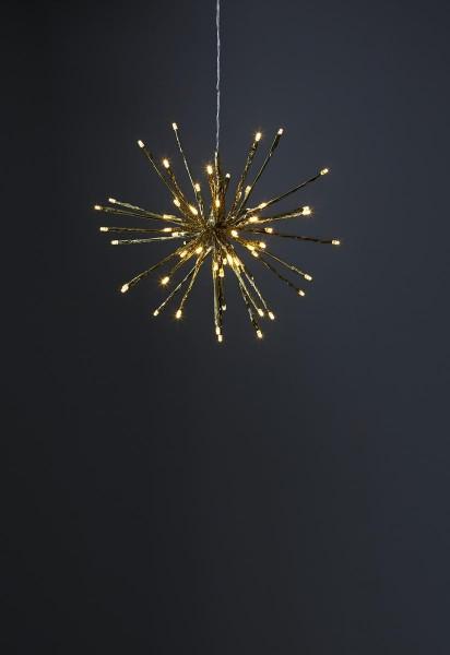 """3D-LED-Hängestern """"Firework"""" 30cm - golden mit 64 warmweißen LEDs - Programme - 5m Zuleitung"""