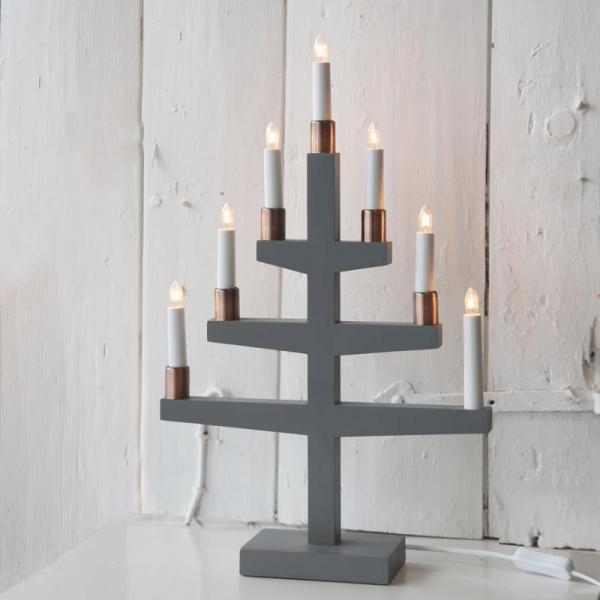 """Kerzenleuchter """"Trapp"""" - 7 Arme - warmweiße Glühlampen - H: 54cm, L: 34cm - Schalter - Grau"""