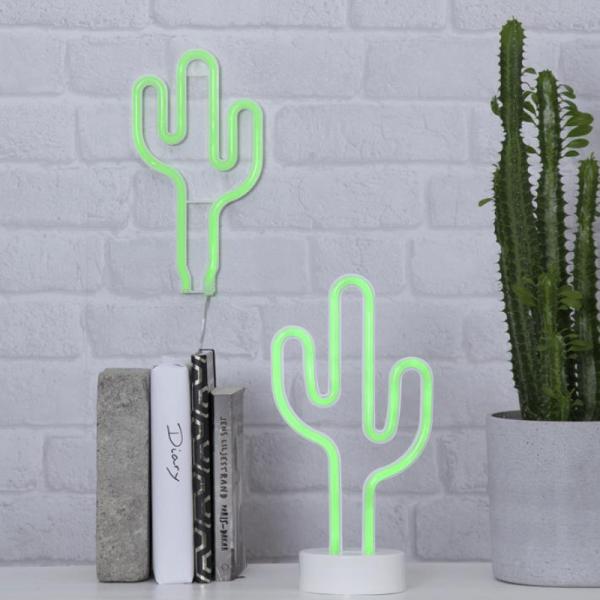 LED-Silhouette Neonlight grüner Kaktus - stehend - 26,5cm x14cm - Batterie - Timer
