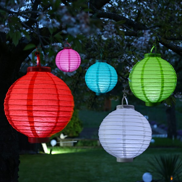 LED Lampion FESTIVAL - kaltweiße LED - D: 30cm - Montagehaken - 5er Set bunt