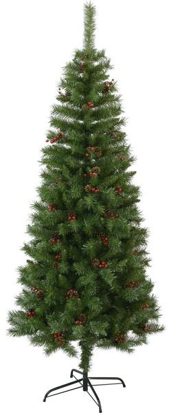 """Weihnachtsbaum """"Red Berry""""  - H: 195cm, D: 75cm - rote Beeren - mit Metallfuss - outdoor"""