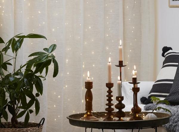 """LED Lichtervorhang """"Dew Drops"""" 100 weiße LEDs - 1x1m - 10x silberner Draht - Trafo"""