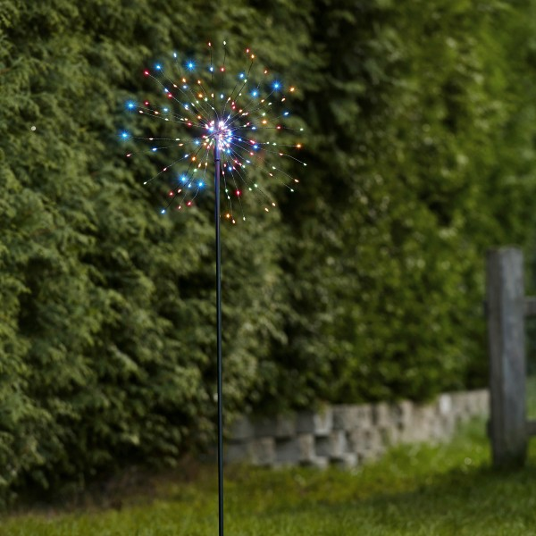 LED Dekostab FEUERWERK - H: 110cm - 160 kleine farbige LED - inkl. Trafo - outdoor - schwarz