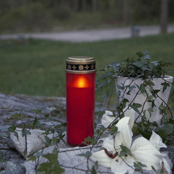 LED Grablicht - Grabkerze - gelbe LED - H: 21cm - Timer - outdoor - rot mit Deckel