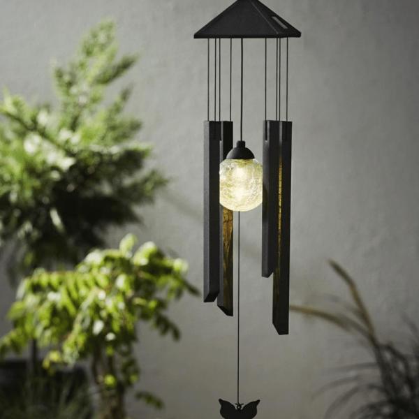 """LED-Solar-Windspiel """"Butterfly"""" - schwarz/klare Kugel - warmweiße LED - outdoor - Dämmerungssensor"""