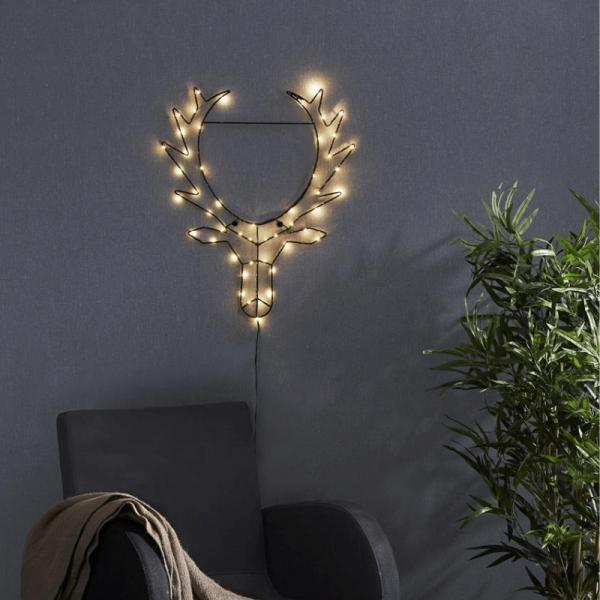 """LED-Leuchtfigur Rentierkopf """"Cupid"""" - 50 warmweiße LED - H: 50cm, B: 42cm - zum Hängen - schwarz"""