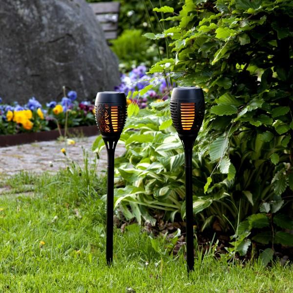 LED Solar Fackel FLAME - mit bewegtem Feuereffekt - H: 50cm - Dämmerungssensor - 2er Set
